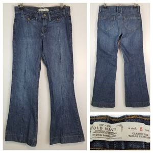 Old Navy 6 Dark Wash Wide Leg Jeans Stretchy